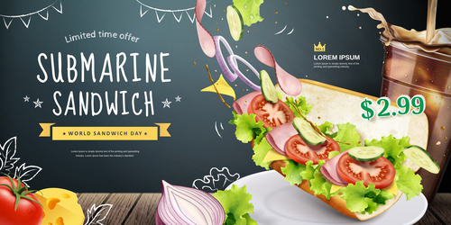 Submarine sandwich sandwich flyer vector
