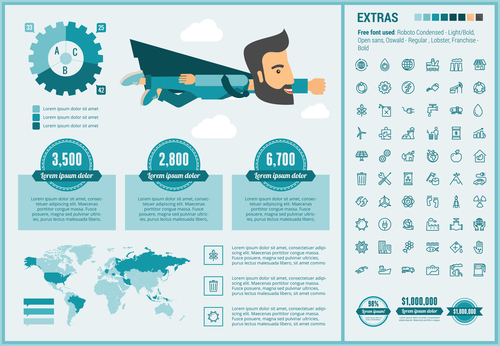 Successful career infographic elements vector