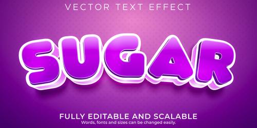 Sugar editable font 3d vector