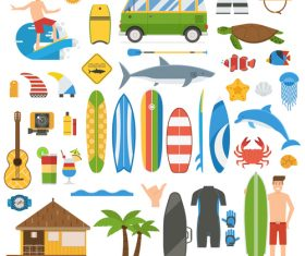 Summer Surfing Vacation Elements Set