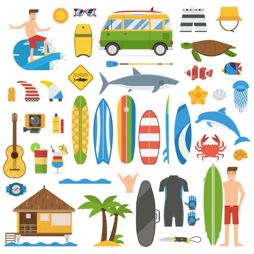 Summer Surfing Vacation Elements Set