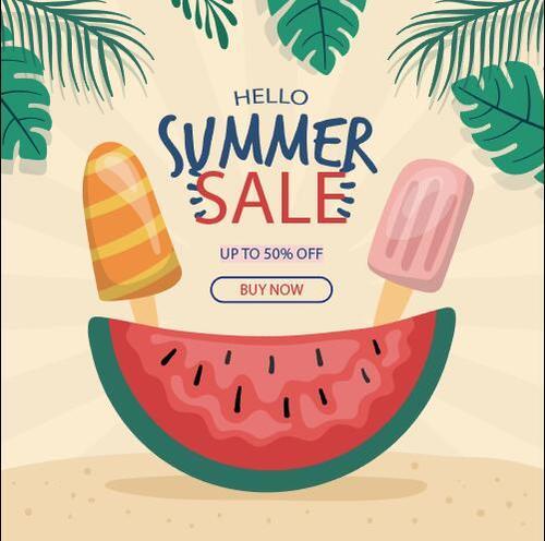 Summer cold drink sale flyer vector