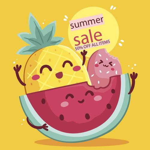 Summer fruit sale flyer vector