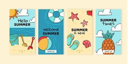 Summer instagram stories vector