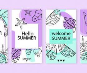 Summer is here instagram stories vector