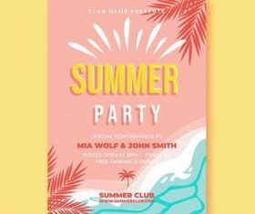 Summer party card vector