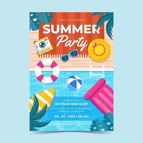 Summer party vertical poster template vector
