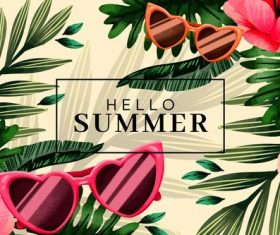 Summer plant background card vector