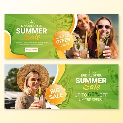 Summer sale banner template vector