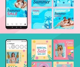 Summer sales social media posts set