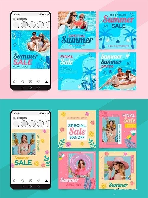 Summer sales social media posts set