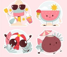 Summer vibes stickers set vector