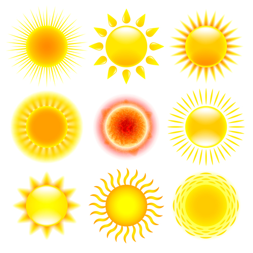 Sun holiday icons vector