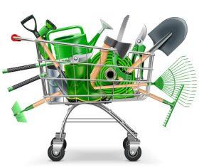 Supermarket Trolley with Garden Accessories vector