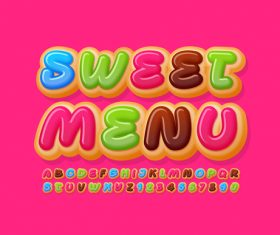 Sweet menu 3d font editable text style effect vector