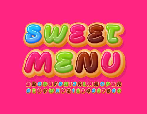 Sweet menu 3d font editable text style effect vector