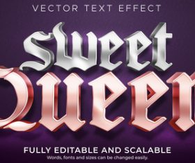 Sweet queen editable font 3d vector