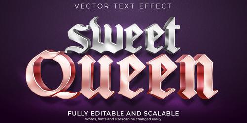 Sweet queen editable font 3d vector