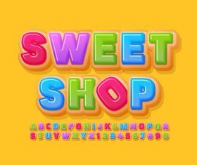 Sweet shop 3d font editable text style effect vector