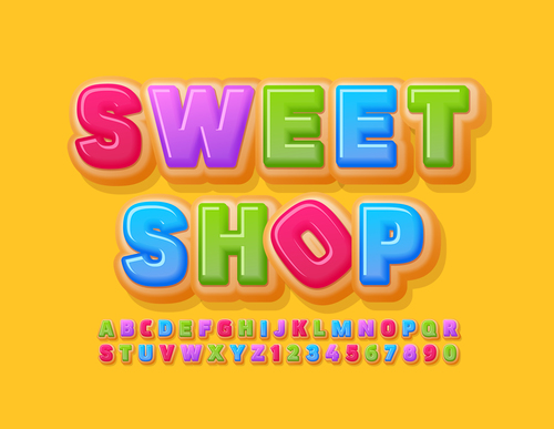 Sweet shop 3d font editable text style effect vector