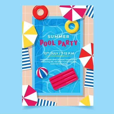 Swimming pool background summer party card vector