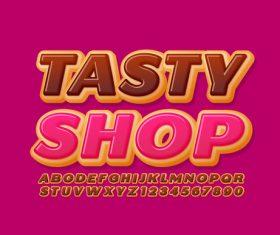 Tasty shop 3d font editable text style effect vector
