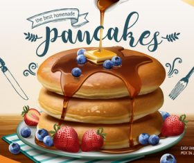 The best homemade pancakes 3d style vector
