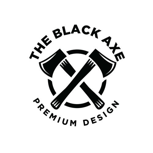 The black axe logo design vector