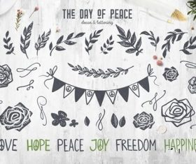The day of peace decor lettering vector