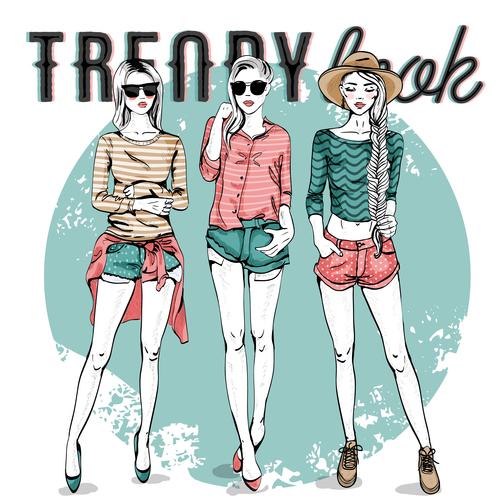 Three girls fashion illustration vector