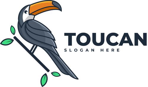 Toucan simple mascot logo vector