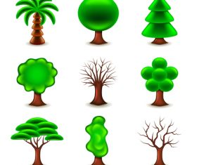 Tree forms icons vector