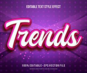Trends editable font 3d vector