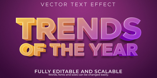 Trends of the year editable font 3d vector