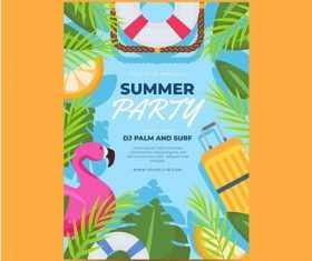 Tropical plants and animals summer party card vector