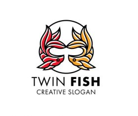 Twin fish modern line art logo vector