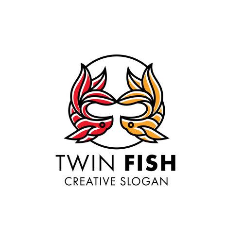 Twin fish modern line art logo vector