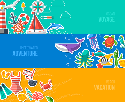 Underwater adventure banner vector