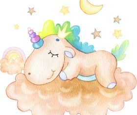 Unicorn sleeping cartoon illustration vector