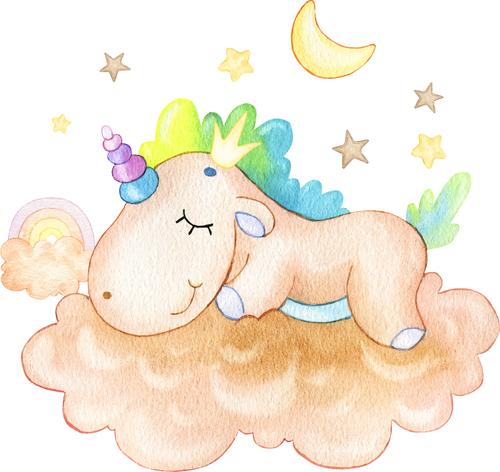 Unicorn sleeping cartoon illustration vector