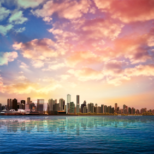 Vancouver city and pink clouds vector