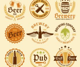 Various beer labels vector