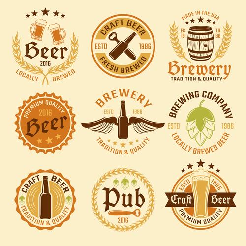 Various beer labels vector