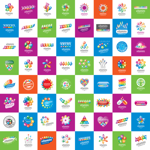 Various colorful drugs icon collection vector