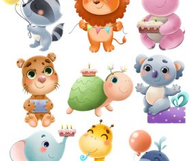 Various cute animals cartoon illustration vector
