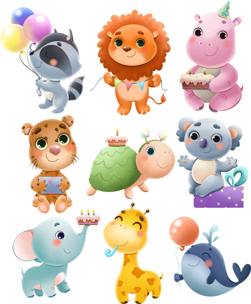 Various cute animals cartoon illustration vector