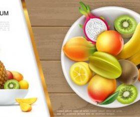 Various fresh fruit flyer vector