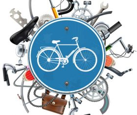 Vector Bicycle Spares Concept with Blue Round Sign