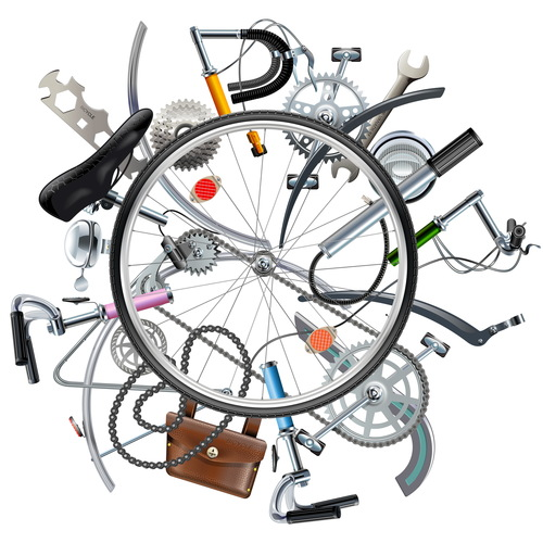Vector Bicycle Spares Concept with Wheel