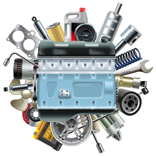 Vector Motor Engine with Car Spares